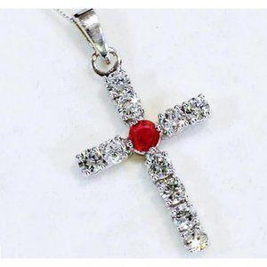 Diamond Pendant Ruby 3.25 Carats Cross White Gold